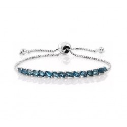 Pulseira De Prata Esterlina 925 Genuína Topazio London Blue19 cm