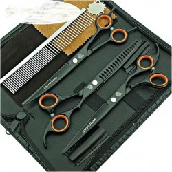 Kit 3 Tesouras 7.0 Pet Grooming C/ Tubarão + Pente Mod27